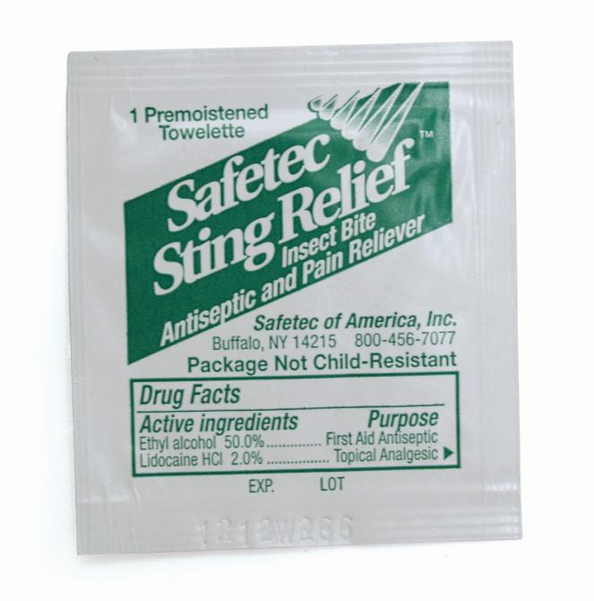 Green Guard First Aid & Safety : Sting Relief Wipes (100/Bag)